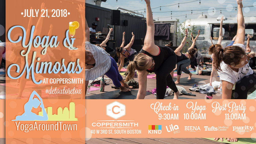 Start your Saturday with Yoga & Mimosas at Coppersmith in Southie! Kate Stone will lead you through a fun all level flow that will have you moving, breathing and working up a sweat for 60-minutes before we #detoxtoretox with mimosas afterward!  All tickets include a Lila Wine Sparkling Mimosa and goodies from our sponsors!   Check out our full Yoga & Mimosas at Coppersmith series and be sure to register for the correct date!   Check-in: 9:30 -10:00 am    Class: 10-11:00am    Post-Party: Directly following class includes a Lila Wine & Purity Organic Mimosa