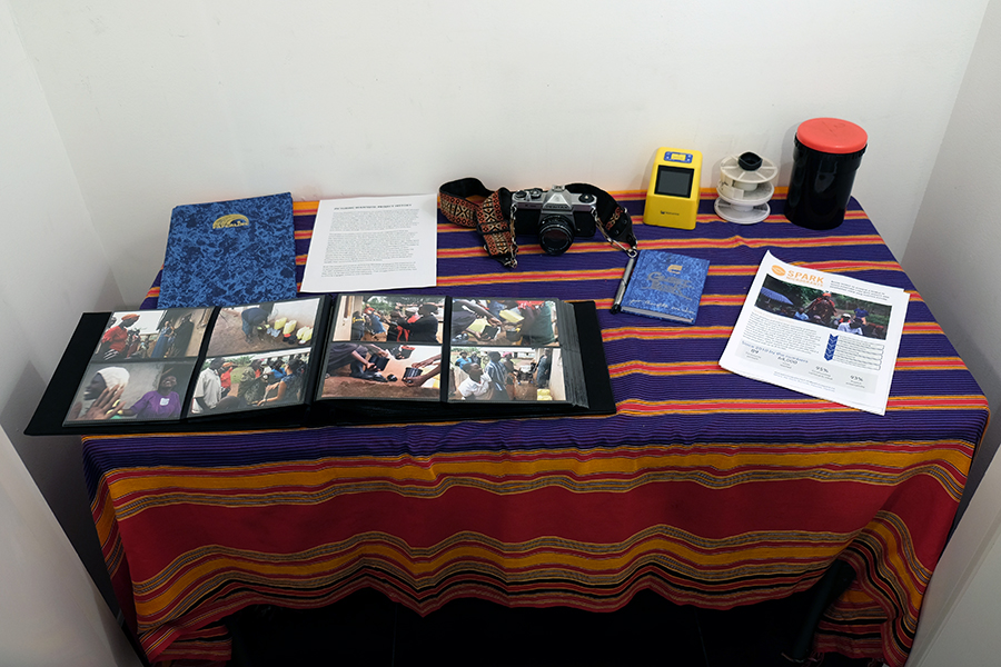 Interactive table display at the  Picturing Wanteete  Exhibition at the Brian Morris Gallery on the Lower East Side of New York City (USA), Spring 2015.