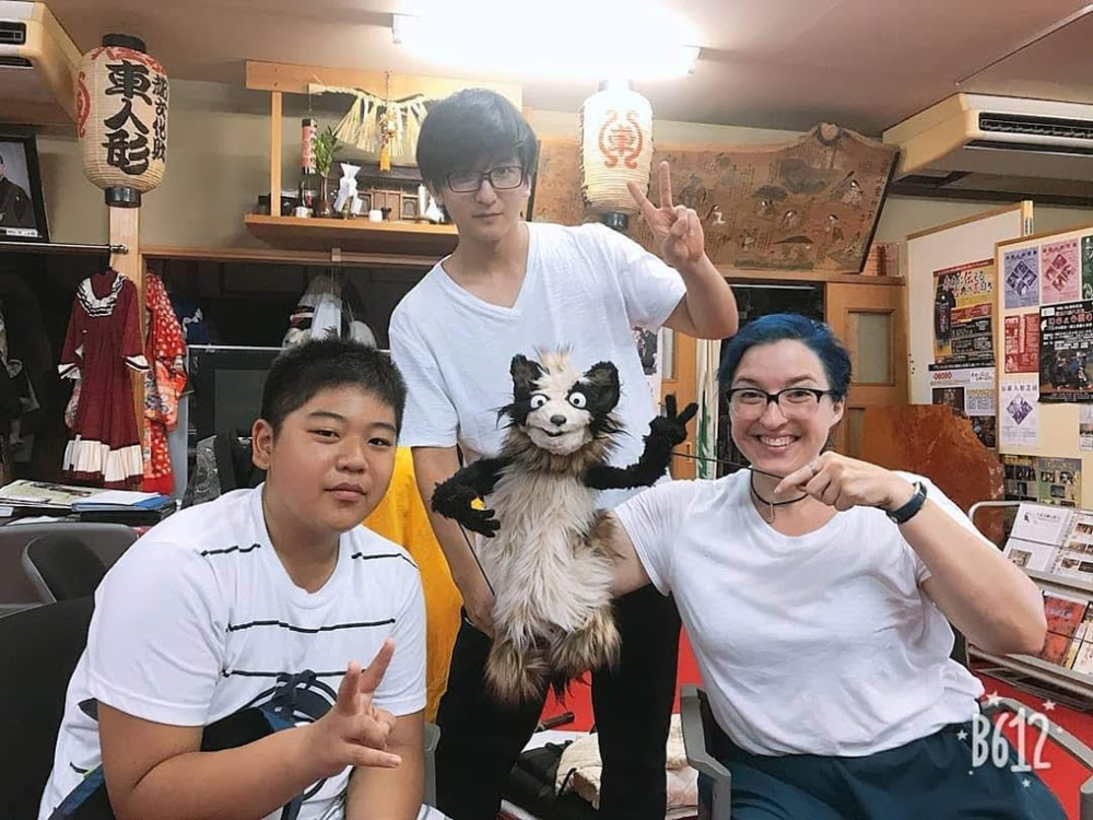 Tanuki-chan (puppet) and friends. From Soh's (center) Instagram.