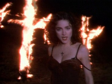 Madonna burning cross