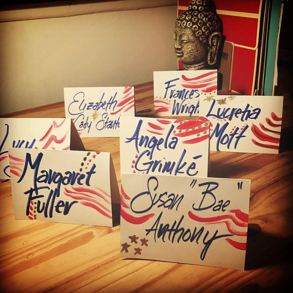 "My own personal version of ""Mission Accomplished"": Handcrafted place cards for a viewing party to honor suffragettes on the election of our first woman president."