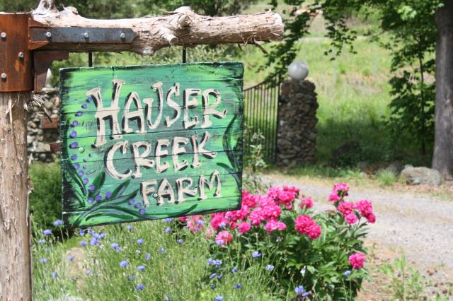 Hauser Creek Farm sign at thefarm entrance gates