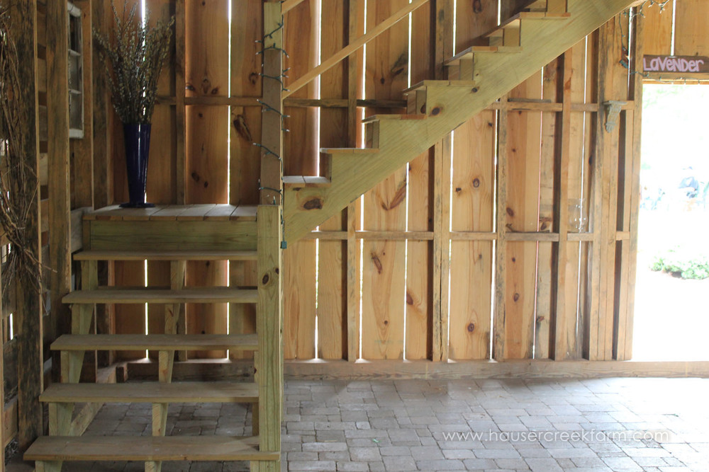 Rustic wooden stairs inside barn at Hauser Creek Farm