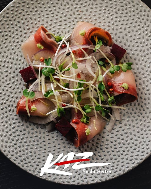 Japanese Tradition meets American Style: hamachi crudo with black sesame sauce / pickled beets / radish sprouts / red onion / yuzu peel / wasabi / pink peppercorn / olive oil  Check it out!