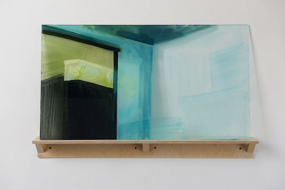 Devaneios    2015  óleo sobre acrílico, prateleira de bétula,   Pintura 46 x 82 x 0.64 cm., prateleira 10 x 86 x 9 cm.    Racing thoughts    2015   Oil paint on plexiglass, artist-made birch shelf,   18'' x 32'' x 0.25'' plexi, 4'' x 34'' x 3.5'' shelf