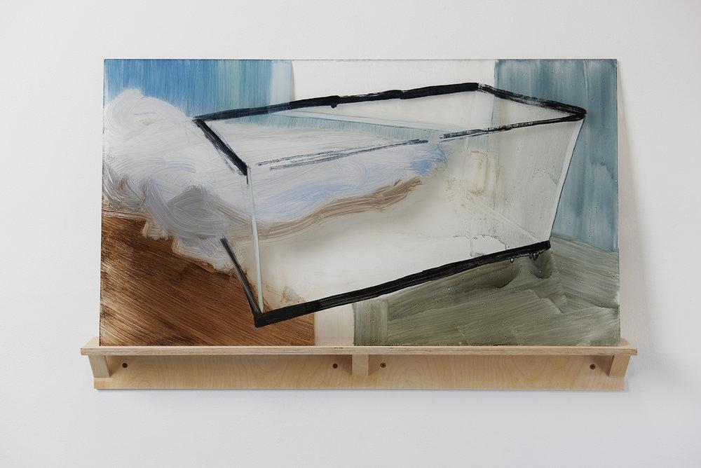 Vazamento    2015  óleo sobre acrílico, prateleira de bétula  Pintura 46 x 82 x 0.64 cm., prateleira 10 x 86 x 9 cm.   ⬜     Leaked    2015  Oil paint on plexiglass, artist-made birch shelf  18'' x 32'' x 0.25'' plexi, 4'' x 34'' x 3.5'' shelf