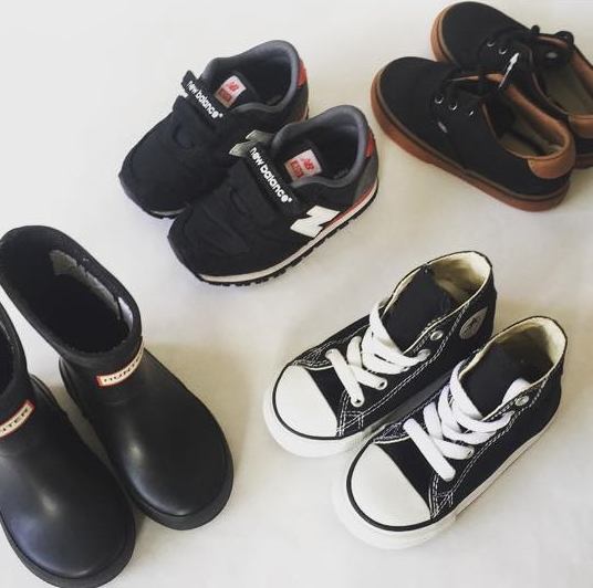 L - R: Hunter Boots, New Balance Shoes, Converse High Tops, Vans