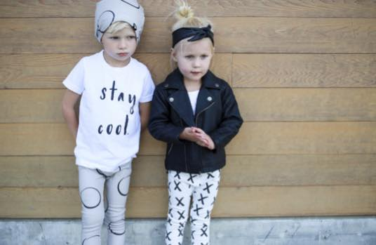 L-R: Dion wearing circle leggings and slouchy beanie, Evalina wearing X's leggings and faux leather knotted headband. {Stay Cool shirt from  Whimswear }