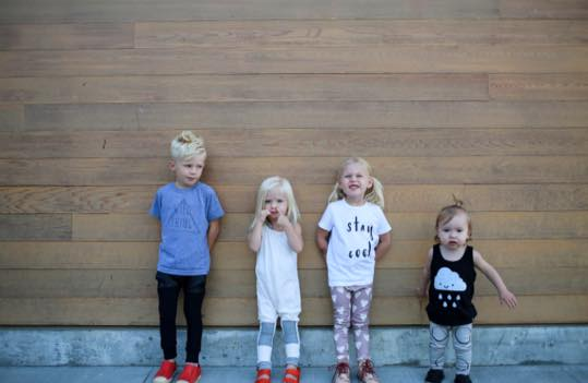 L-R: Dion wearing black joggers with faux leather pockets, Harlan wearing girl romper in white and grey, Evalina wearing heart leggings and Ava wearing circle leggings. {Wild Thing and Stay Cool shirts are from  Whimswear , Cloud shirt is from  Whistle and Flute )
