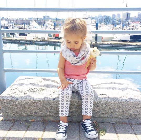 Little Citizens Apparel  own, Stella, wearing Skulls Infinity Scarf