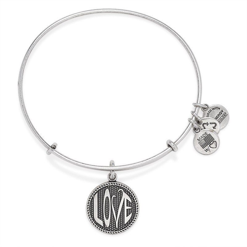 Alex and Ani Love Bangle in Silver