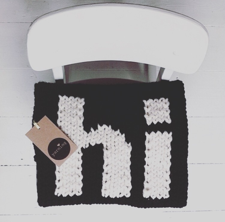 "Yarning Made  ""hi"" Blanket"