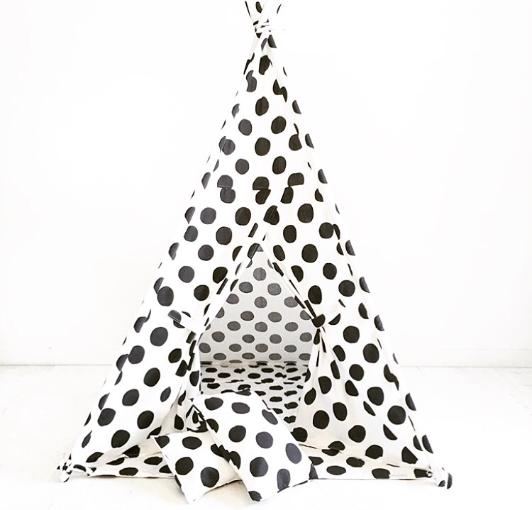 "Domestic Objects  ""Black and White Poka Dots"" Play Tent"
