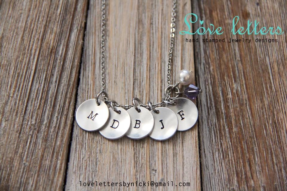 Love Letters  Custom Hand-stamped Jewelry: use code LOVE for 15% off purchases.