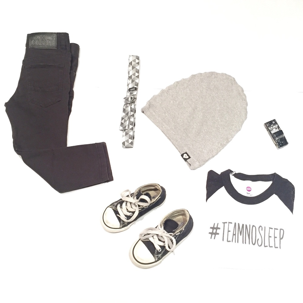 "Black skinny jeans: H&M | Belt: Monkey and Peanut | Grey beanie: Tiny Button Apparel | Shoes: Converse | ""#teamnosleep raglan: The Sweet Life Apparel"