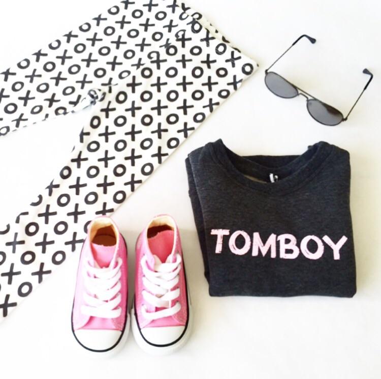 "Leggings and ""Tomboy"" pullover:  Little Cittizens Apparel  | Shoes:  Converse  | Babiators:  The Children's Place"