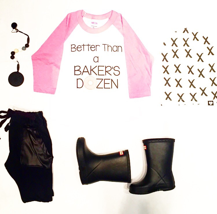 "Cookie teether: Glitter and Spice | Black harem joggers and ""X"" beanie: Tiny Button Apparel 