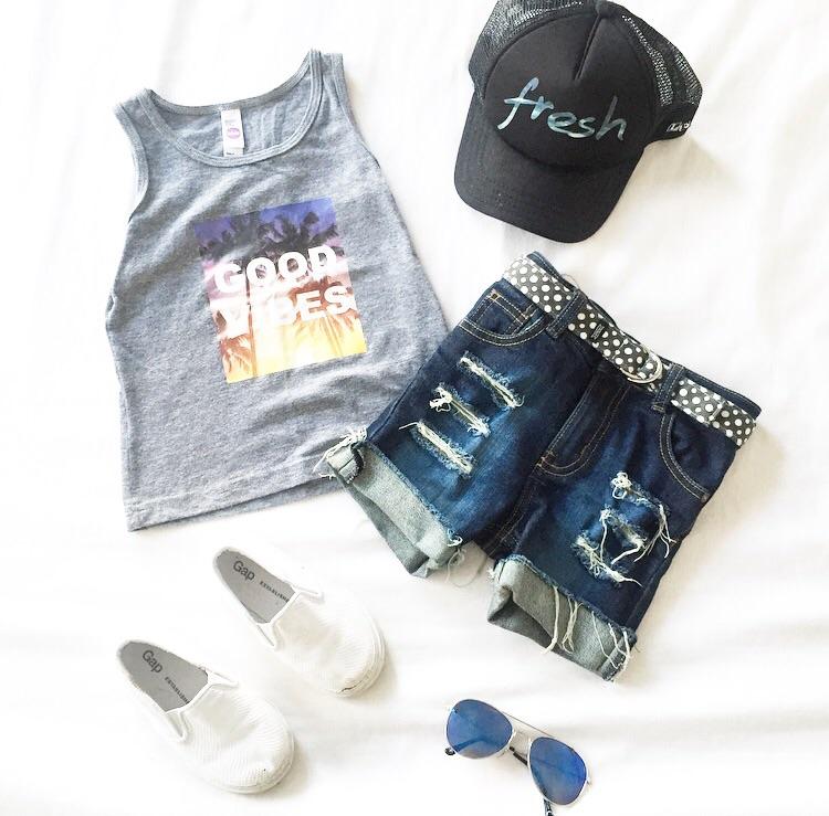 Vagabond Babe  'Fresh' mesh trucker hat & 'Good Vibes' tank /  Tattrd Threads  Denim Shorts /  Monkey and Peanut  belt /  Gap  slip on shoes /  H&M  sunnies