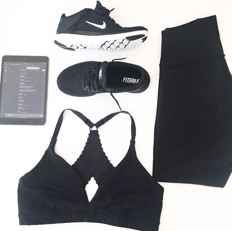 Shoes: Nike Fitsole // Leggings + Sports Bra: Lululemon