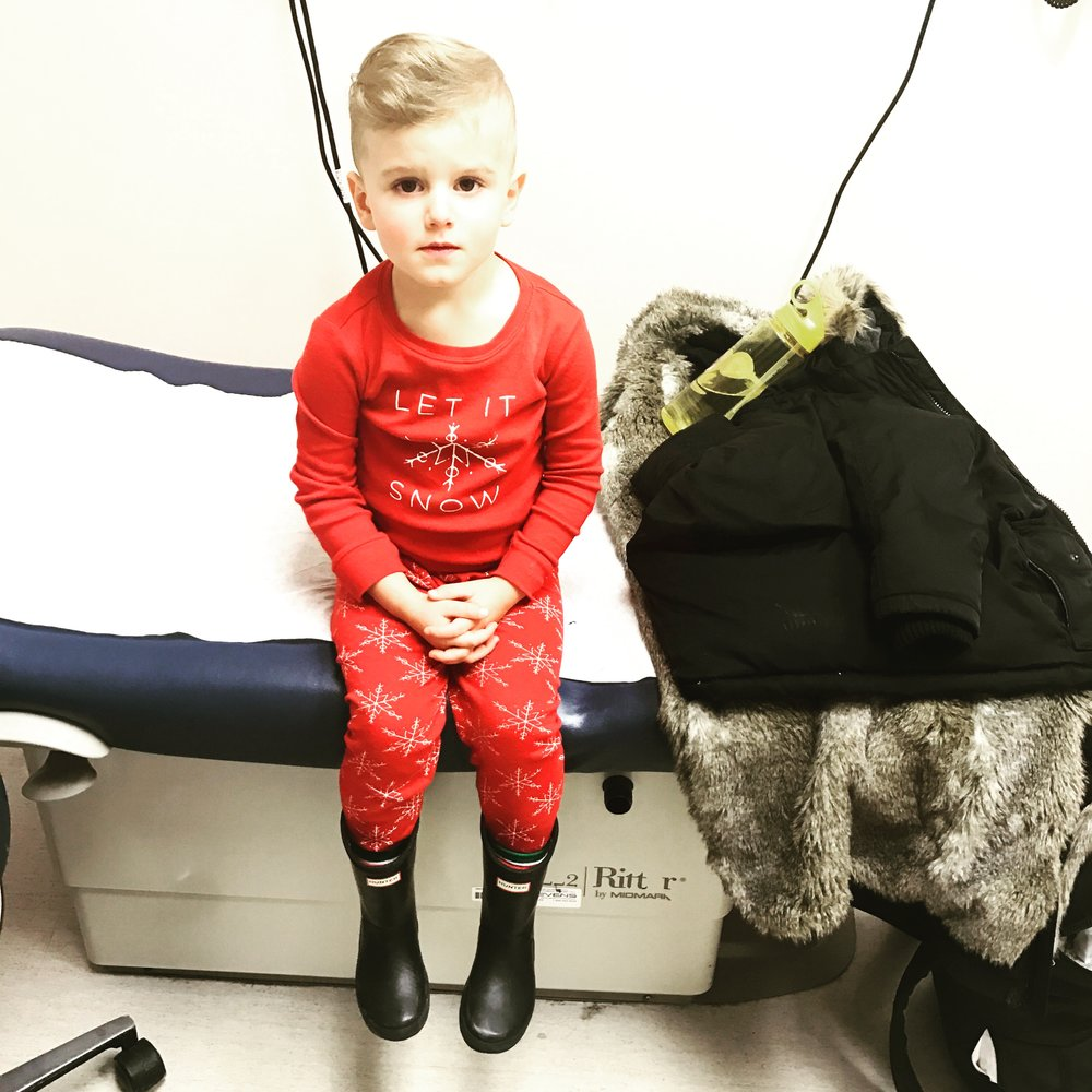 Hudson was so sick at the beginning of the holidays, so we ended up in Emerg. He was a trooper!