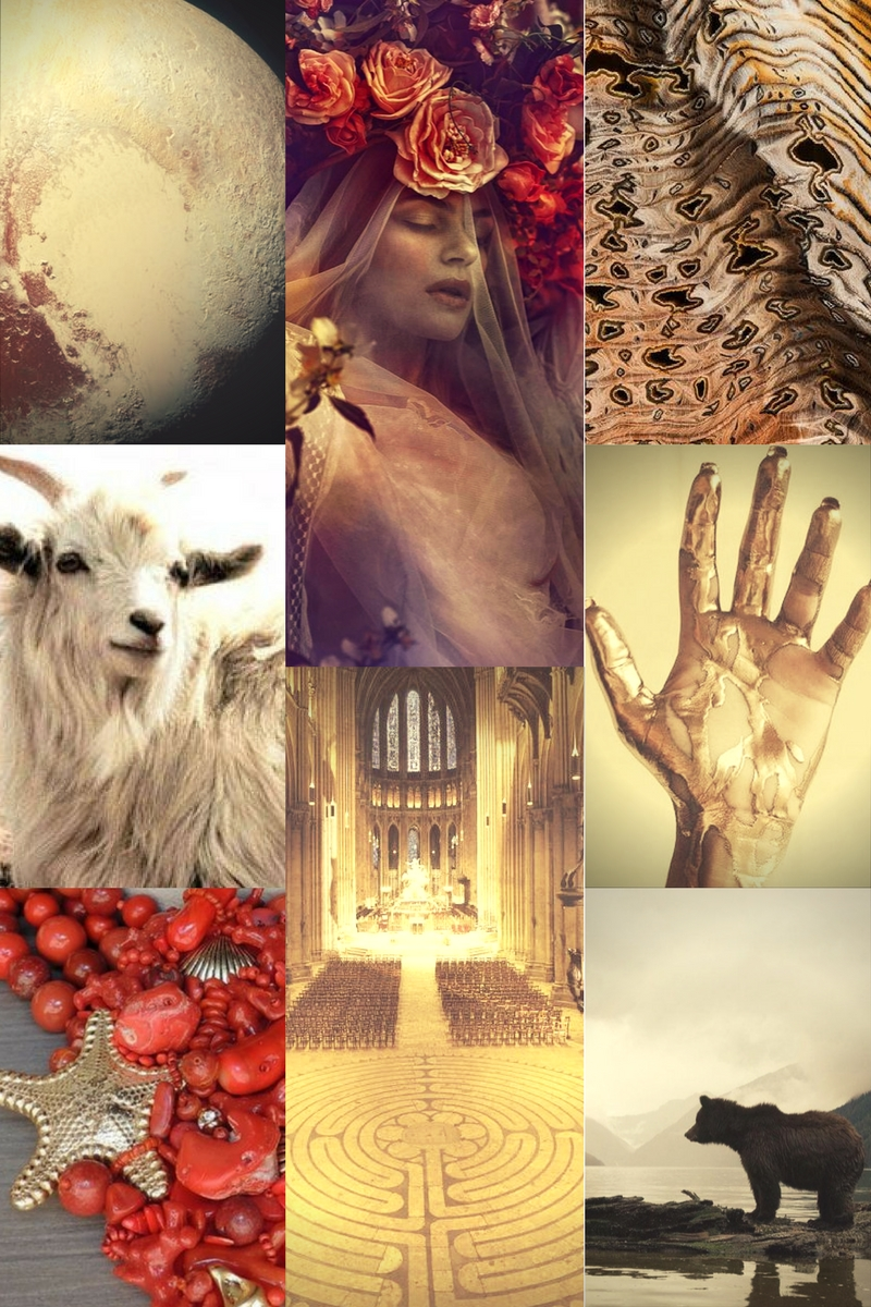 Clockwise from Top Left: Pluto, Persephone, Petrified Wood, Gold, Bear, Labyrinth, Red Coral, Mountain Goat.