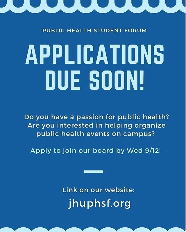 Applications to join our board are due Wednesday at 11:59 pm!  Don't miss your chance to join a great team of people working to promote public health events and awareness on campus 💙  Application link: goo.gl/forms/dEelnQMA11f6REix1  More info on our website: jhuphsf.org