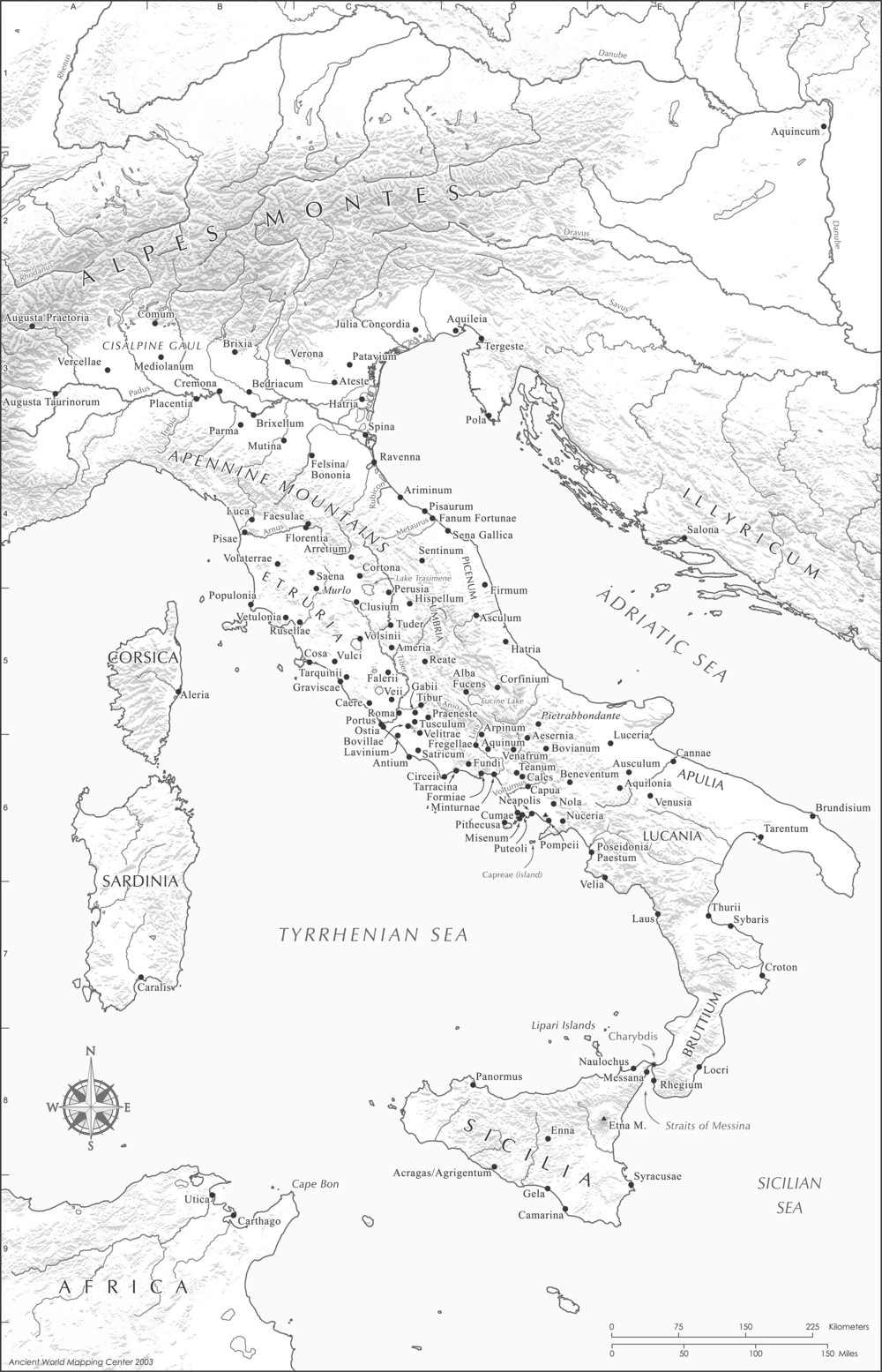Map of the Italian Peninsula and Central Mediterranean