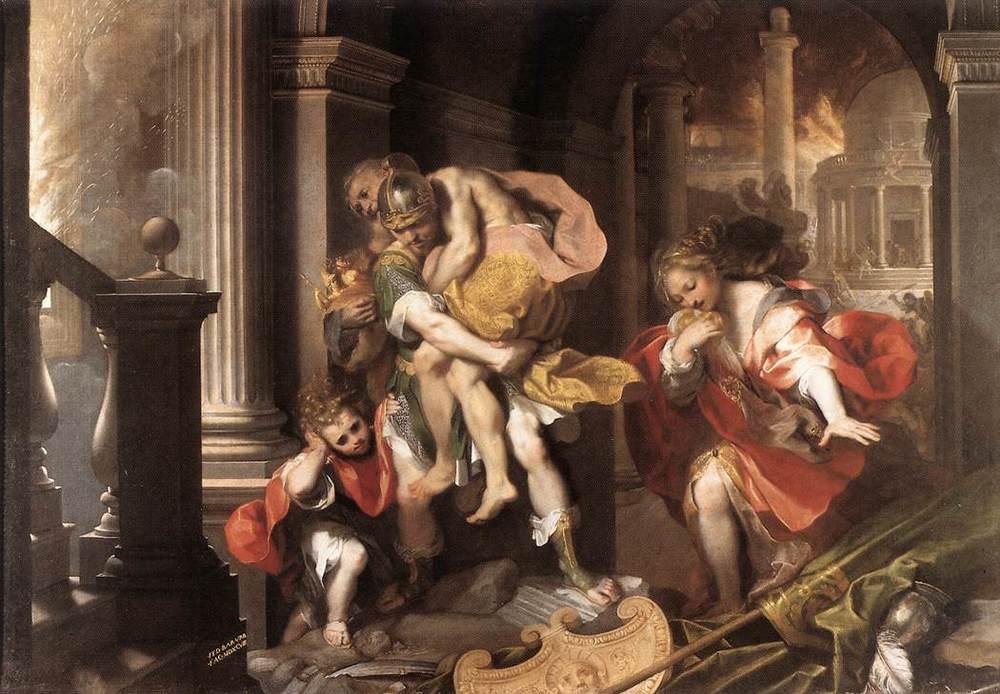Aeneas escapes the destruction of Troy