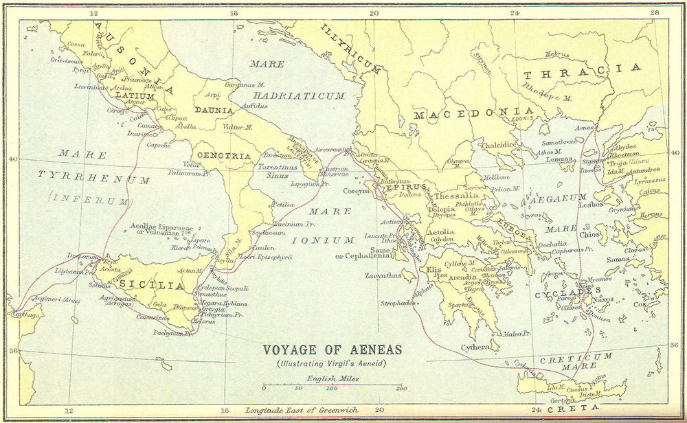 Map of Aeneas Journey from Troy to Latin (Italy)