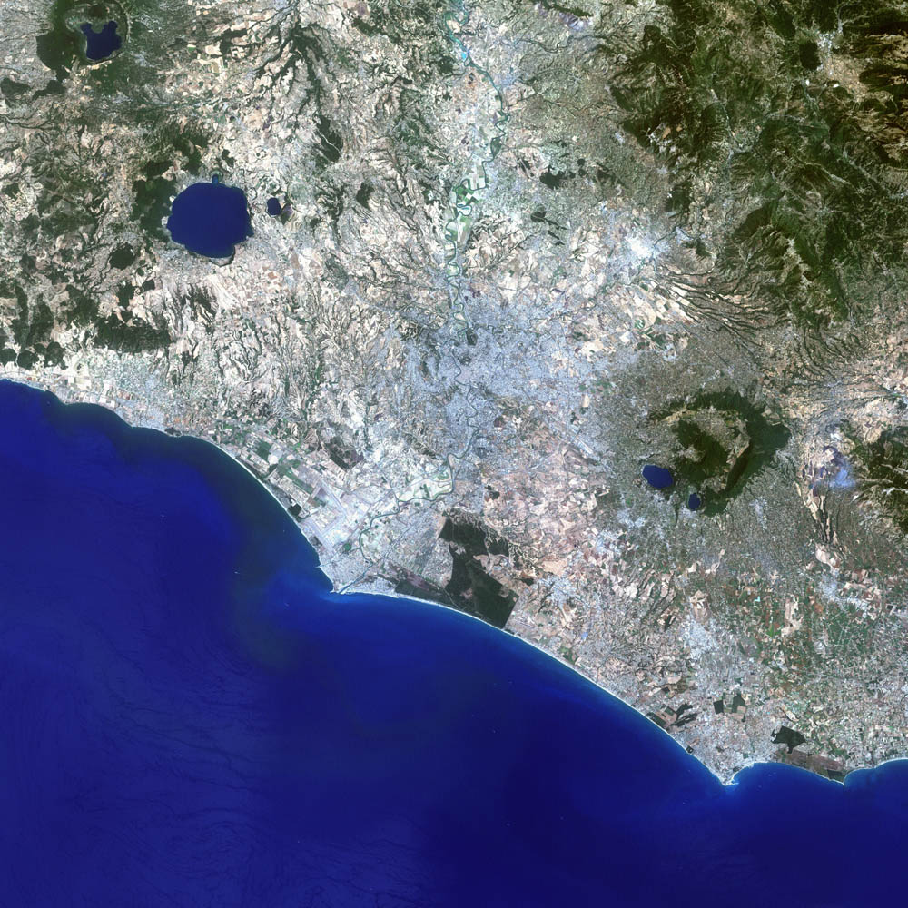 Topography of Latium. Find the Tiber River and find Lacus Albanus and Mons Ablanus south of Rome