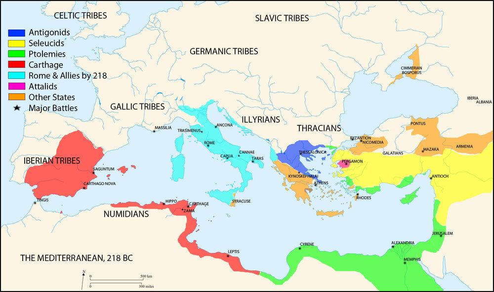 Map of Mediterranean before 2nd punic war 218BC MAP MEDITERRANEAN.jpg