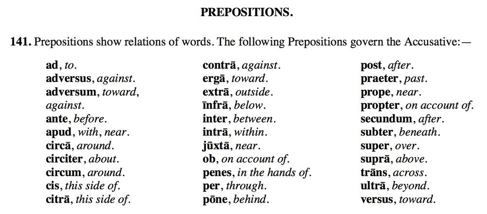 latin prepositions review latin for rabbits