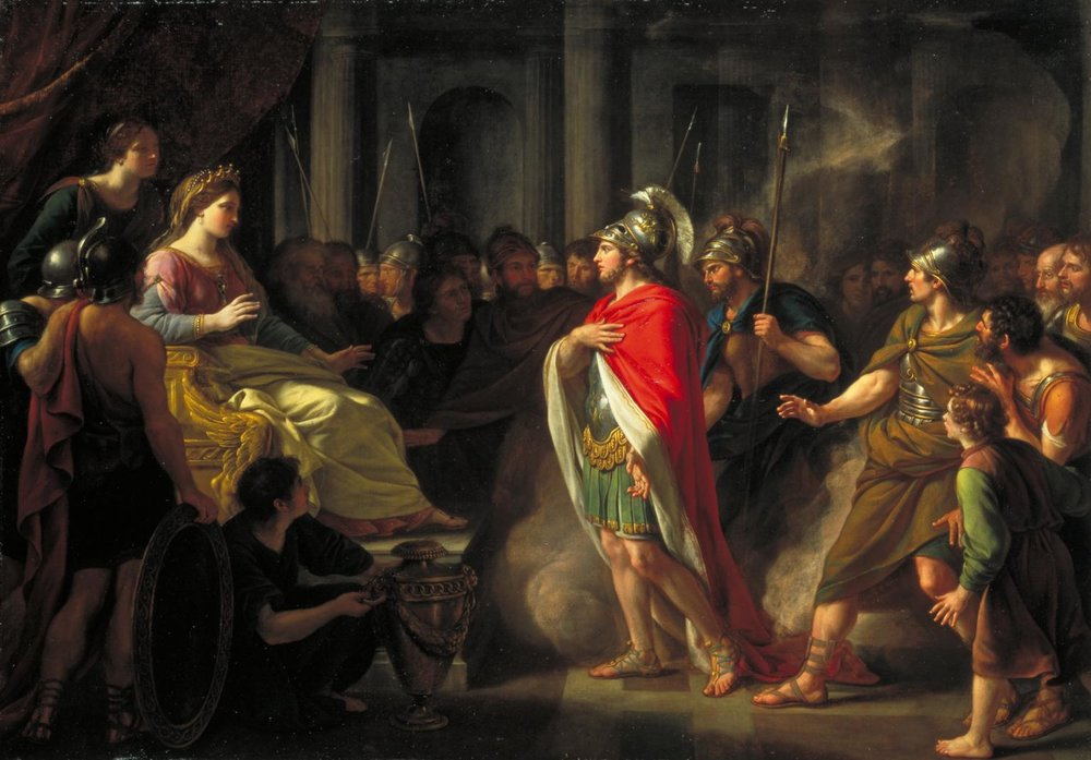 Aeneas and Dido in Carthage, Africa.