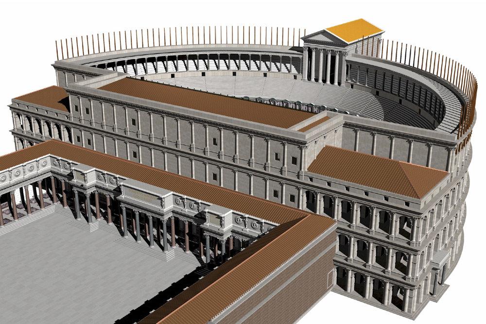 Theater of Pompeius Magnus with Temple of Venus in the Campus Martius, Rome