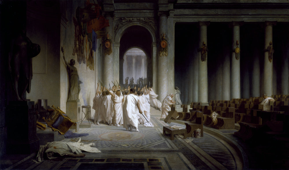 Caesar assassination murder Jean-Léon_Gérôme_-_The_Death_of_Caesar_-_Walters_37884.jpg