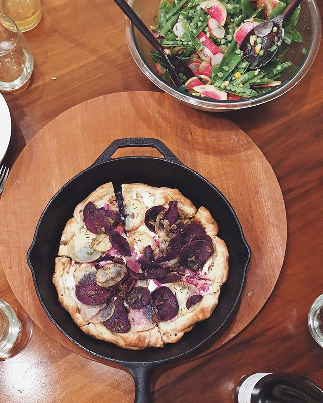 Lakers (Purple & Gold) potato anchovy flatbread with snap peas & radish salad. #hungry