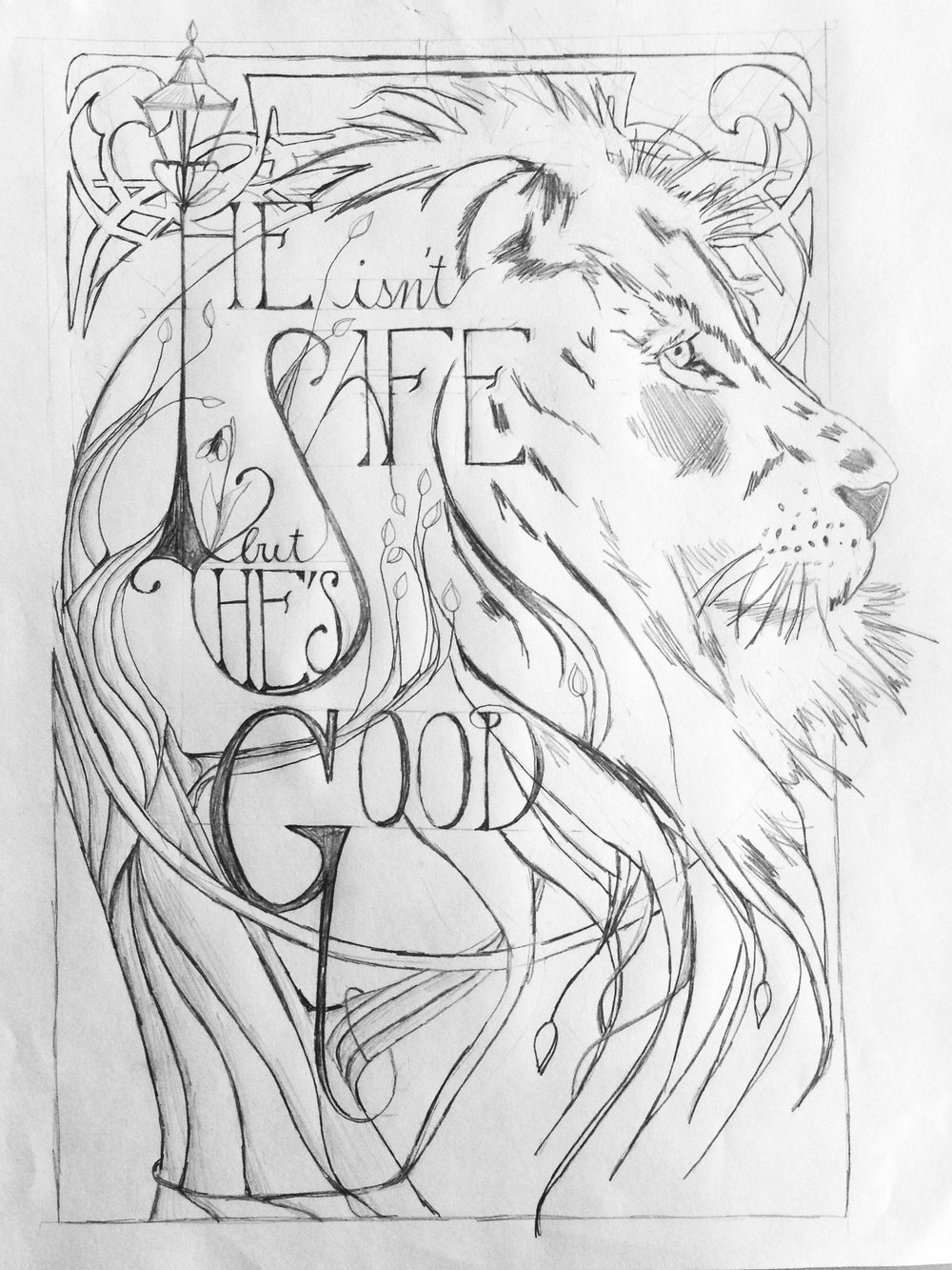 narnia lion sketch drawing