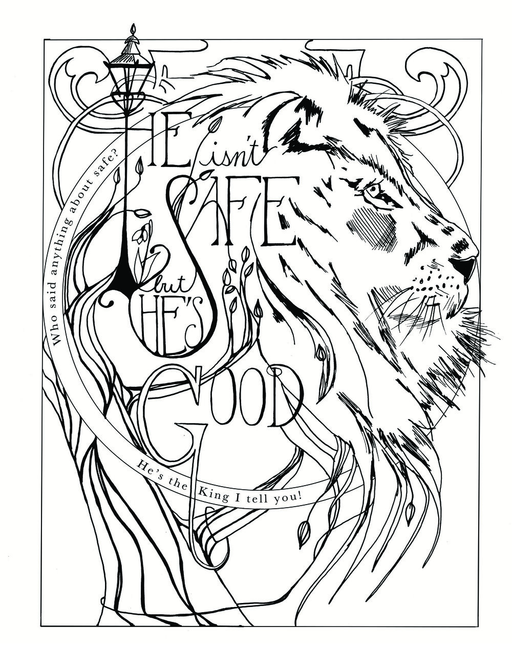 Narnia drawing lion sketchbook for printmaking