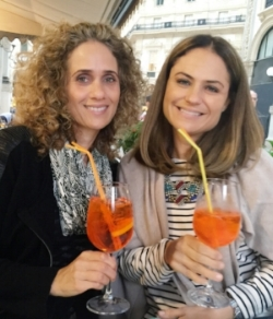 Marcela and I having our favorite spritz cocktail in Milan last Fall!