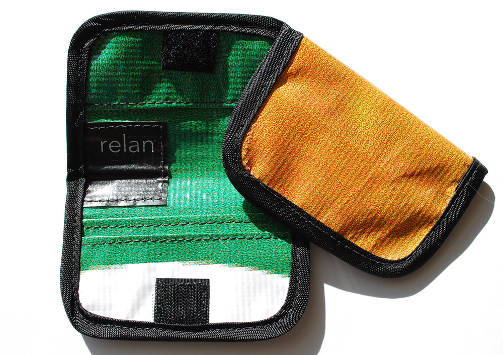 Sturdy wallet made from old banners and billboards with velcro seal