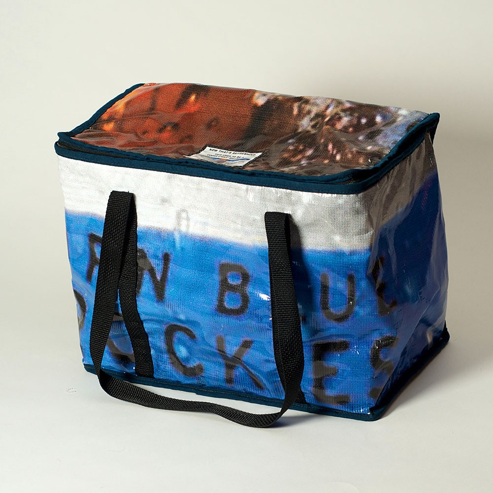 Eco-friendly cooler made from repurposed banners and billboards