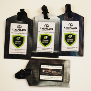 Lexus luggage tags made from recycled banners
