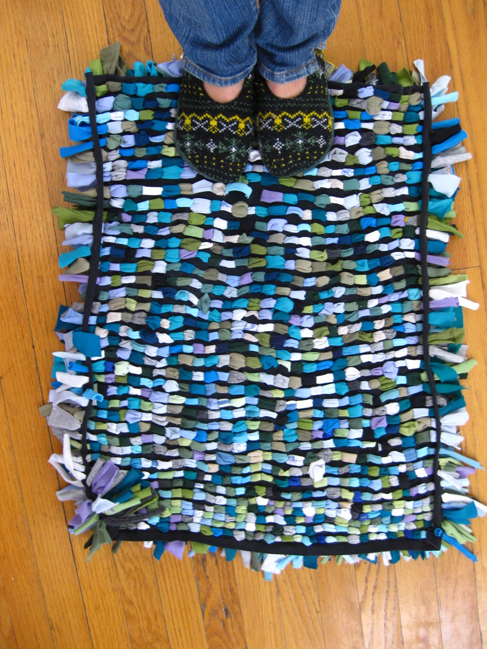 Shag rug made from old t-shirts