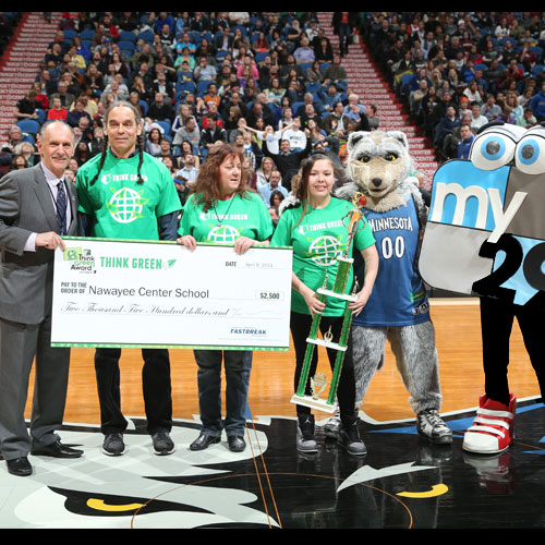 Nawayee Center School receiving a grant from the Timberwolves for their school garden