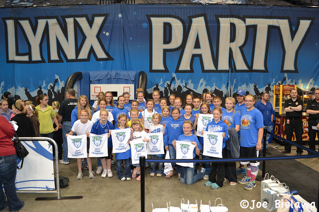 Kids attending a Minnesota Lynx basketball game