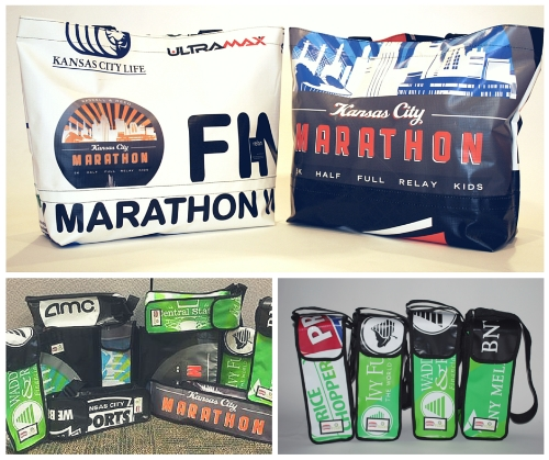 Bags and wine totes made from recycled Kansas City marathon banners