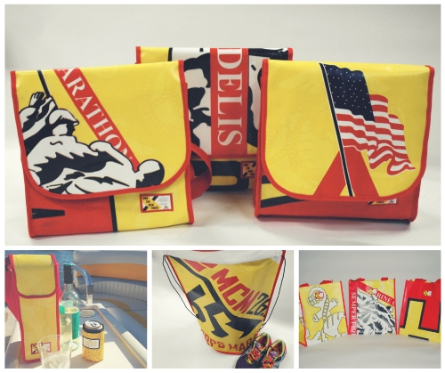 Products made from recycled Marine Corps Marathon banners