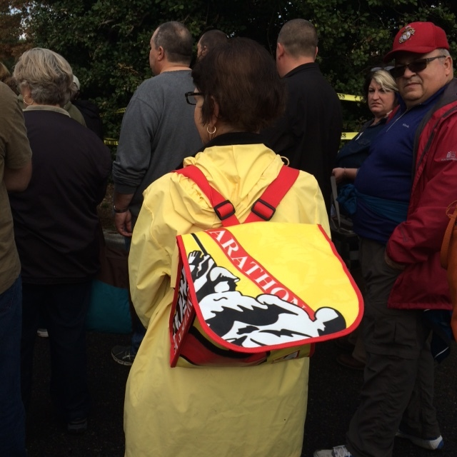 A Relan backpack in action at the finish line