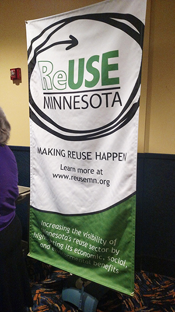 ReUse MN banner at ReUse! Because You Can't Recycle the Planet documentary