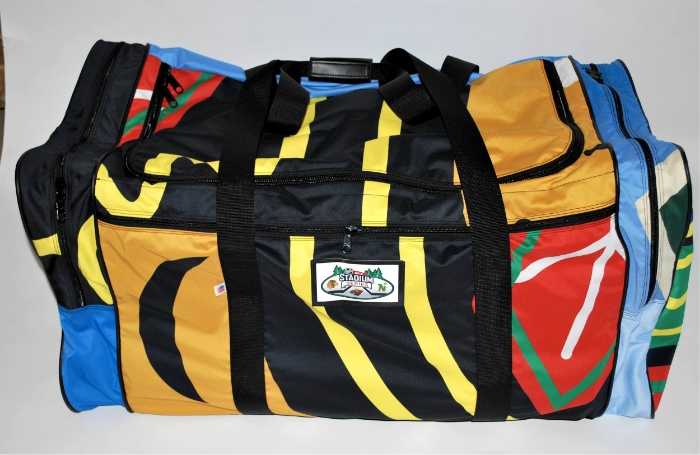 Hockey bags made from repurposed Winter Classic banners